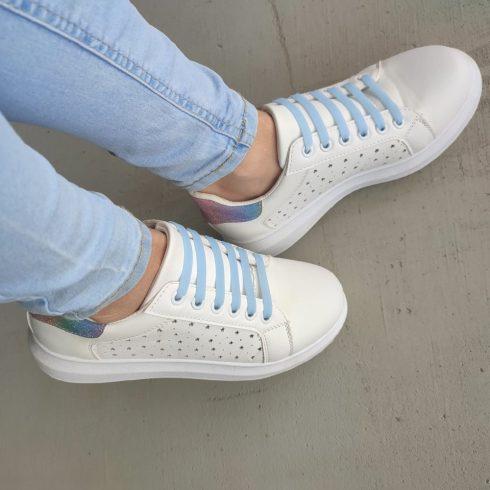 FLUOR fluorezkáló kék szilikon cipőfűző  (36-os cipőméret felett mindenkinek)