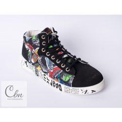 SPANDEX BLACK rugalmas cipőfűző fémcsavaros