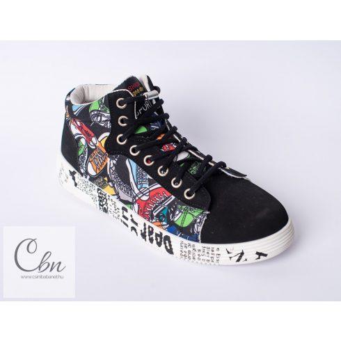 Spandex fekete rugalmas cipőfűző fémcsavaros