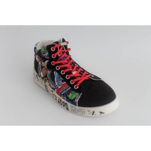 Spandex piros rugalmas cipőfűző fémcsavaros