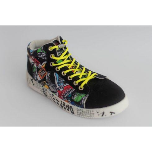 Spandex sárga rugalmas cipőfűző fémcsavaros