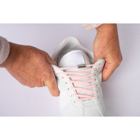 Spandex rózsaszín rugalmas cipőfűző fémcsavaros