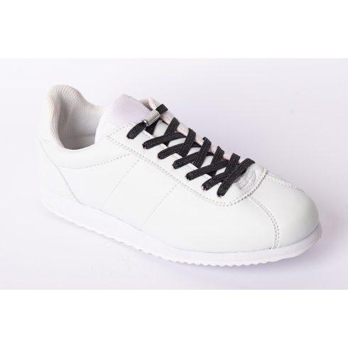 Glami fekete rugalmas cipőfűző ezüst fémcsavaros