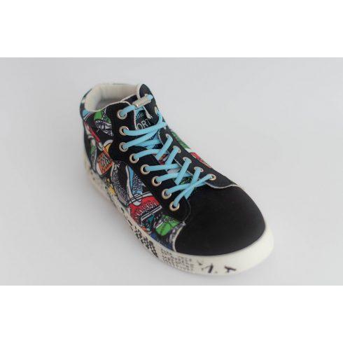 Spandex világoskék rugalmas cipőfűző fémcsavaros