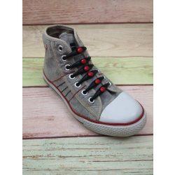 Szilikonos cipőfűző fekete-piros 12 darabos
